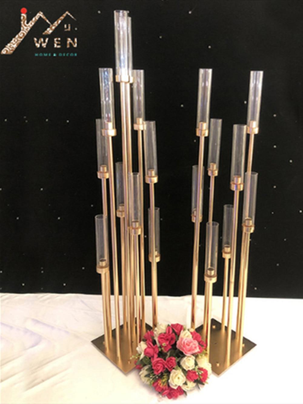10 Stuks Metalen Kandelaars Kandelaar Vazen Bruiloft Tafel Middelpunt Kandelaar Pillar Stand Road Lood Party Decoratie