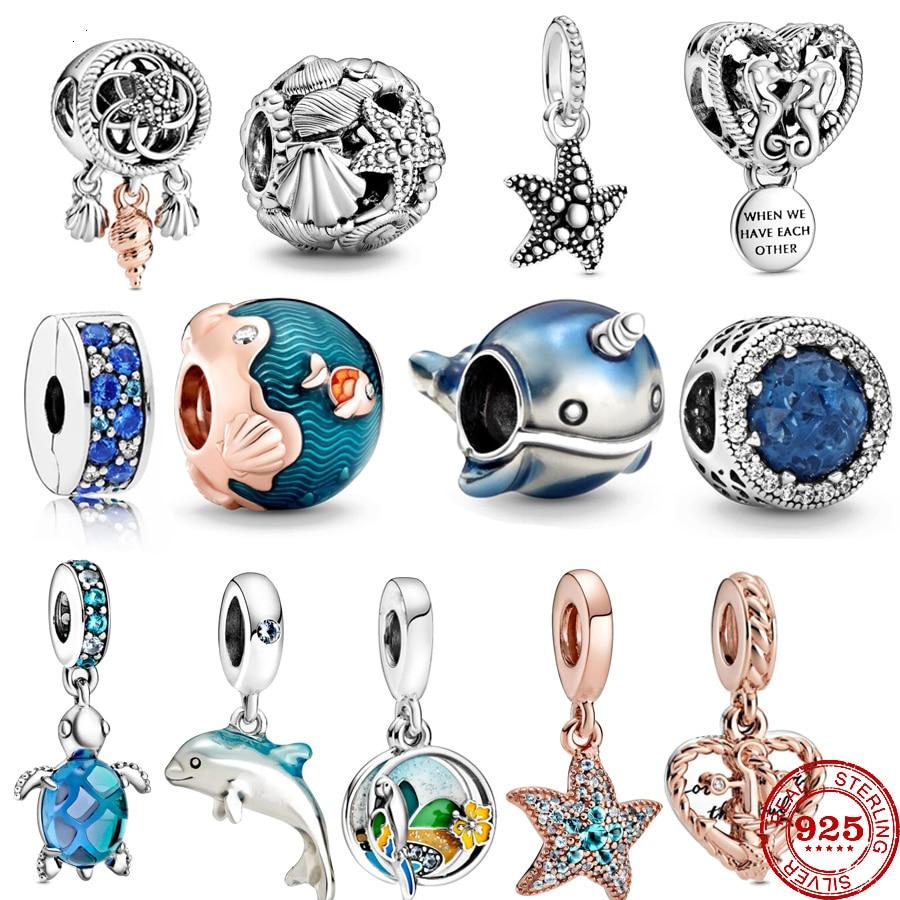 Summer New Glass Turtle Starfish Sea Horse Silver 925 Charm Bead Fit Original Pandora Bracelets DIY Ocean Series Jewelry