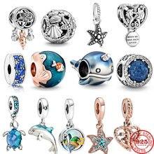 Новинка лета 2020, стеклянная подвеска в виде черепахи, морской лошади, серебро 925 пробы, Шарм-бусина, подходит для оригинальных браслетов Pandora,...