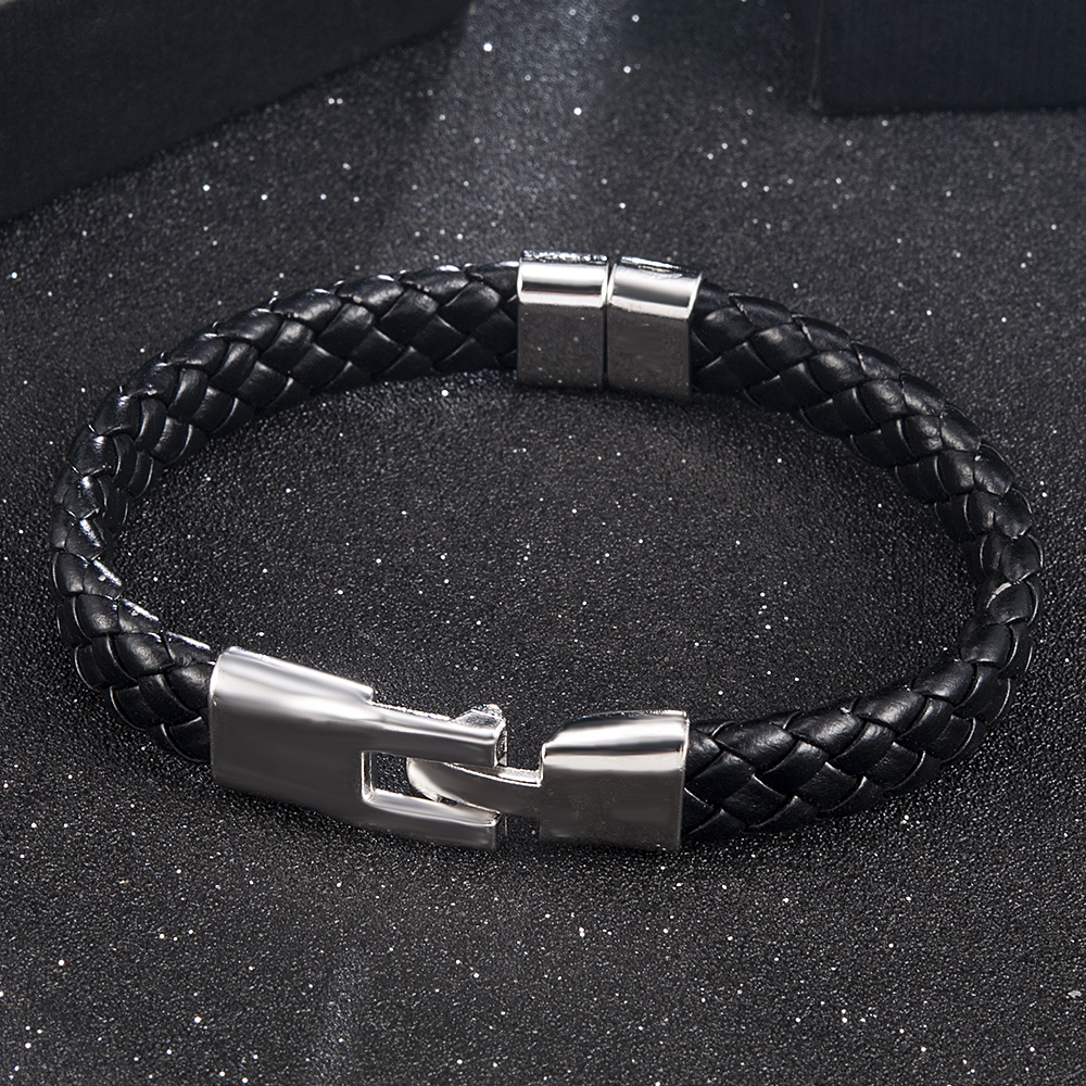 High Quality Men Women Leather Wrap Wristband Cuff Magnetic Clasp Bracelet Stainless Steel Buckle Clasp Bracelets Jewelry 2