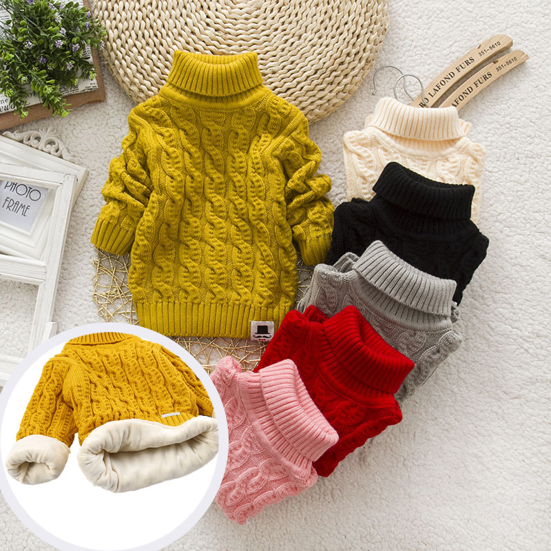 PHILOLOGY Plush inside pure color winter boy girl kid thick Knitted turtleneck shirts solid high collar pullover fluff sweater 1