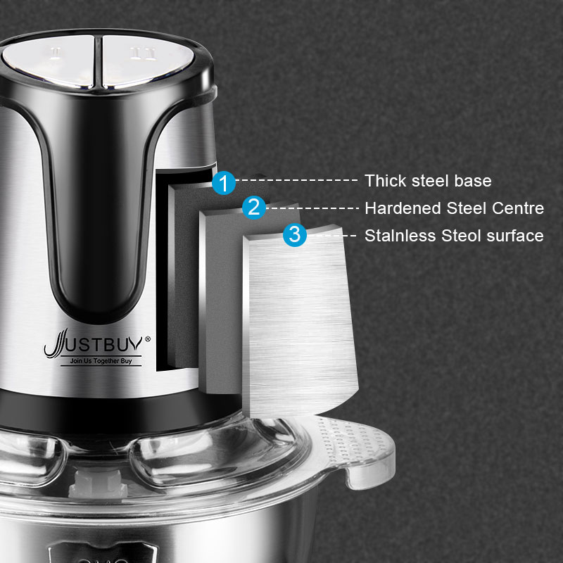 Factory price 500W 2 Speed Stainless steel 2L Capacity Electric Chopper Meat Grinder Mincer Food Processor Slicer-1
