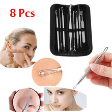 Hot Sale 8 PCS/set Blackhead Comedone Acne Pimple Belmish Extractor Vacuum Blackhead Remover Tool Spoon for Face Skin Care Tool(China)