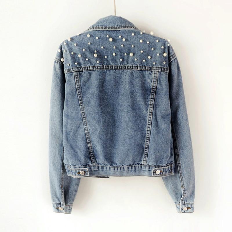 DEAT 2021 consegna veloce nuova giacca di jeans da donna autunno moda manica lunga bottone allentato perle risvolto corto tempo libero selvaggio AP446 2