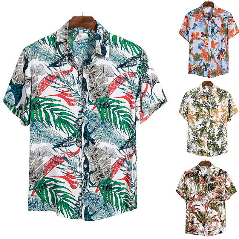 2020 New Men's Hawaiian Shirts Casual Wild Shirts Classic One Button Tops Men Fashion Printed Short-sleeve Shirt