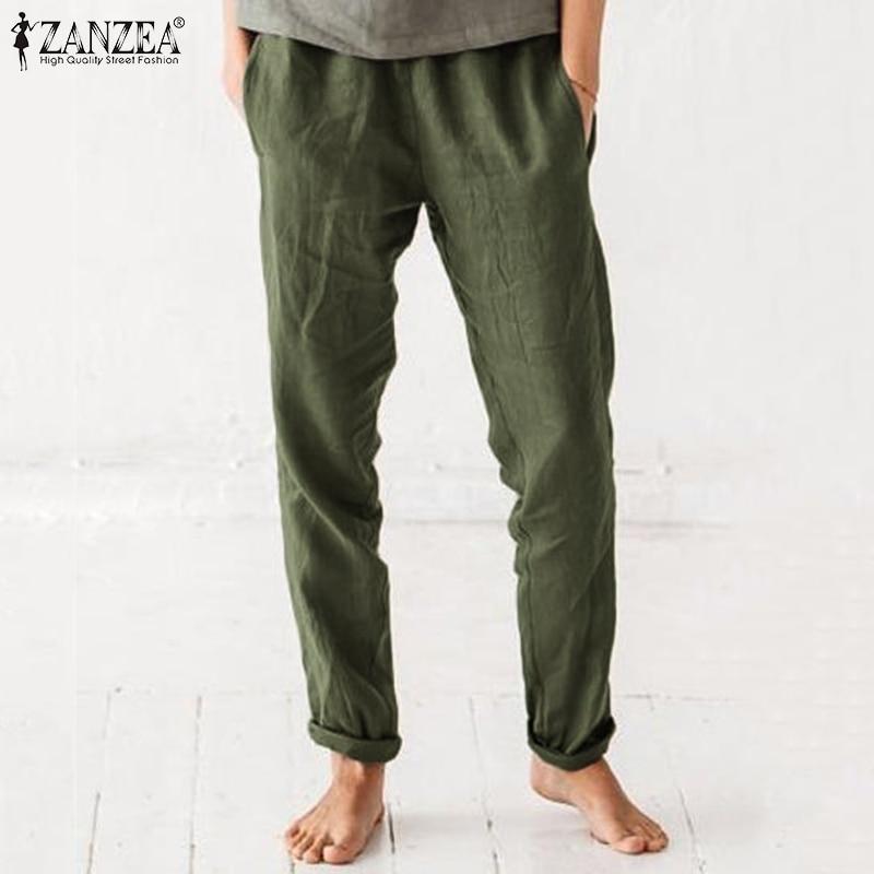 2020 ZANZEA Autumn Casual Long Trouser Cotton Pockets Pantalon Summer Women Pants Femme Plus Size Elastic Waist Vintage Pant 5xl
