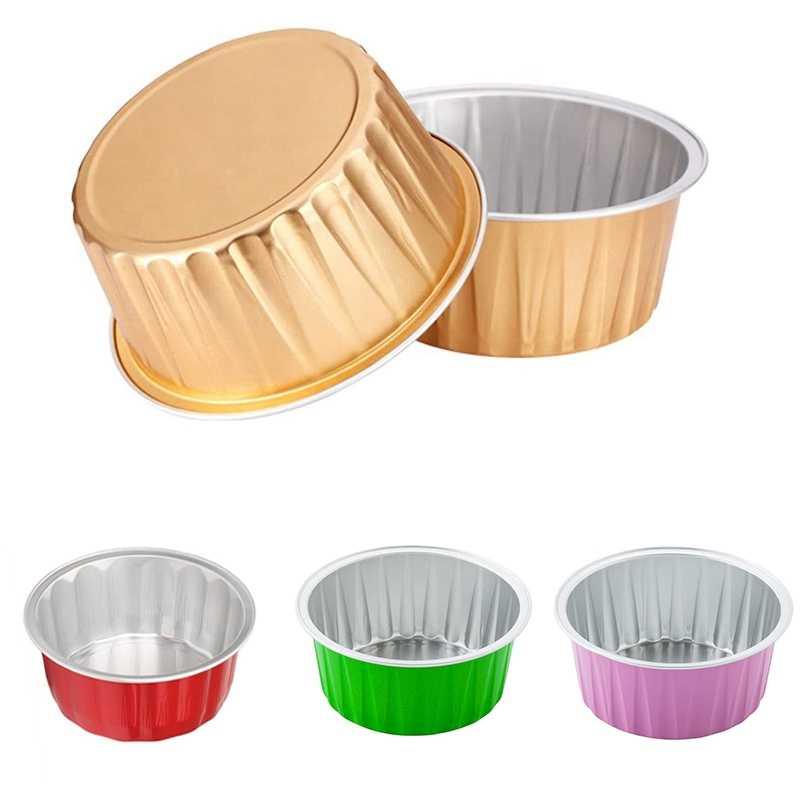 100Pcs Disposable Aluminum Foil Baking Cups Creme Brulee Dessert Oval O5U9