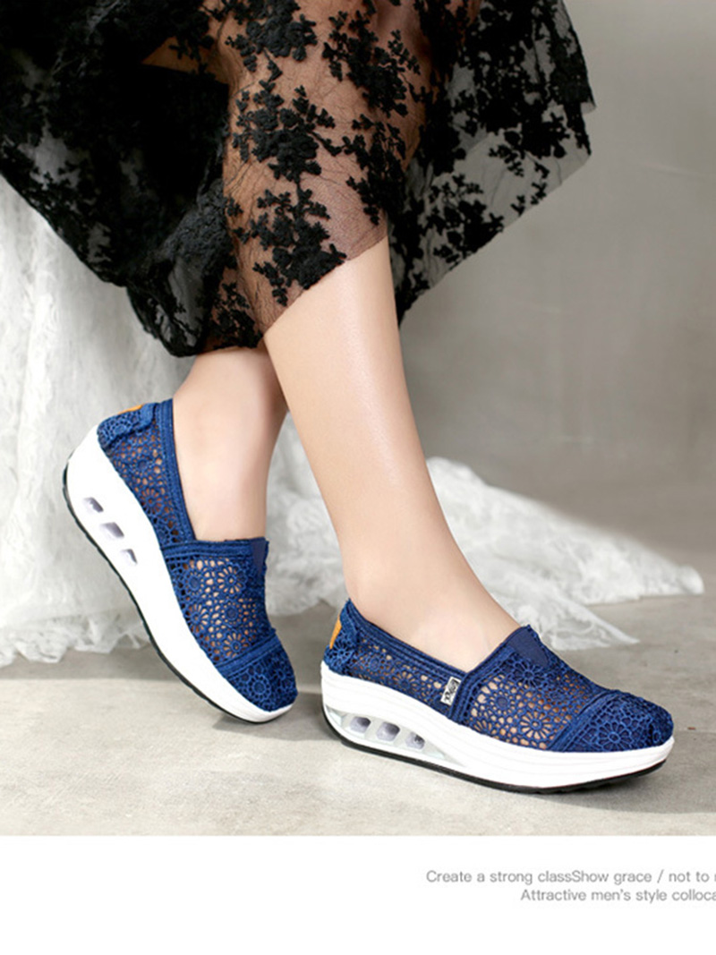 New Spring Summer Hollow Canvas Shoes Women Fashion Lace Slip on Shoes for Women Breathable Platform Shoes 2020 VT750 (11)