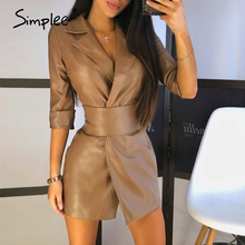 Simplee Fashion high waist short party dress women Half sleeve slim black dress sexy A-line elegant short pu leather dress 2020