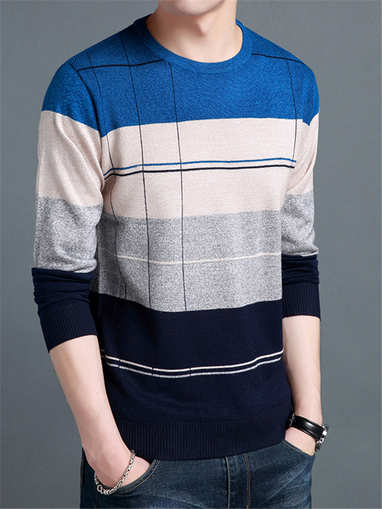 Sweater Men Clothing Pullover Long-Sleeve-Shirt O-Neck Knitted Autumn Mans Casual Slim-Fit