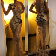 Prom-Dresses Evening-Dress Long-Sleeve Sequin Lace Mermaid Gold Formal Sexy Sheer One-Shoulder