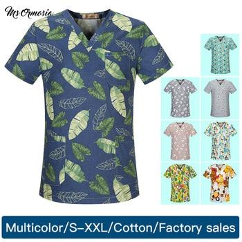 high quality multicolored cotton cartoon printing Scrub uniform Laboratory coat pet shop scrubs uniform tops wholesale Custom