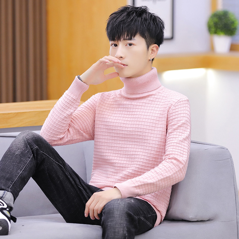 Men Sweaters Pink White Yellow Red Grey Black Blue Long Sleeve Winter Fashion Turtleneck Pullovers Solid Casual Mens Sweaters