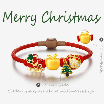 Original design Christmas Eve Bracelet beads unique antique gold enamel porcelain craft sweet cute fairy silver jewelry image
