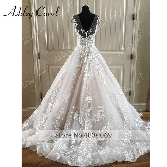 Ashley Carol A-Line Wedding Dress 2021 Backless Off the Shoulder Beaded Lace Appliques Princess Bride Dresses Beach Bridal Gown 6