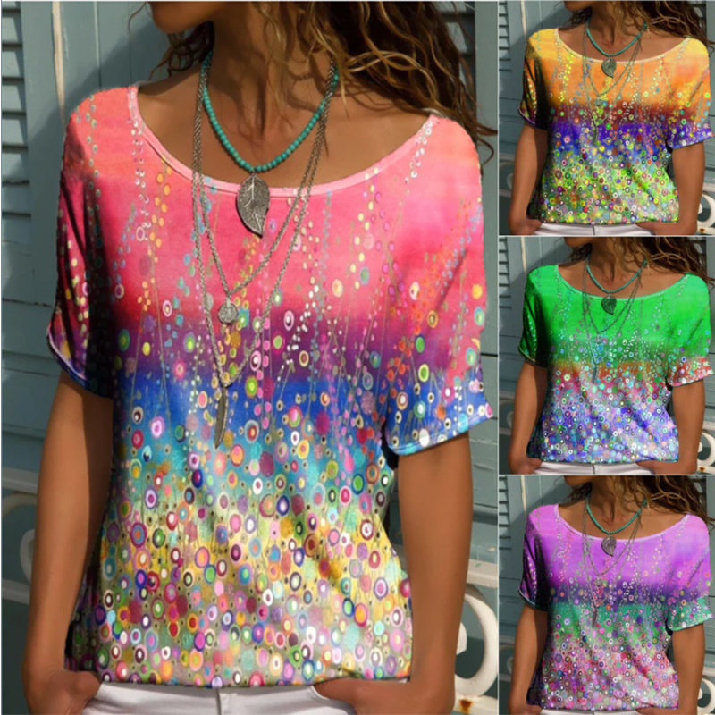 Summer Round Neck Geometric Print Loose Short Sleeved T Shirt Tops Women's Casual Loose Tops Fashion Plus Size Clothing