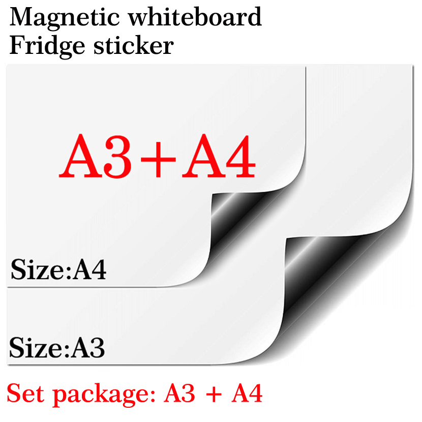 Magnetic Whiteboard Magnet Fridge A3+A4 Set Package Soft Home Office Kitchen Magnet Dry Erase Board White Board Message Board