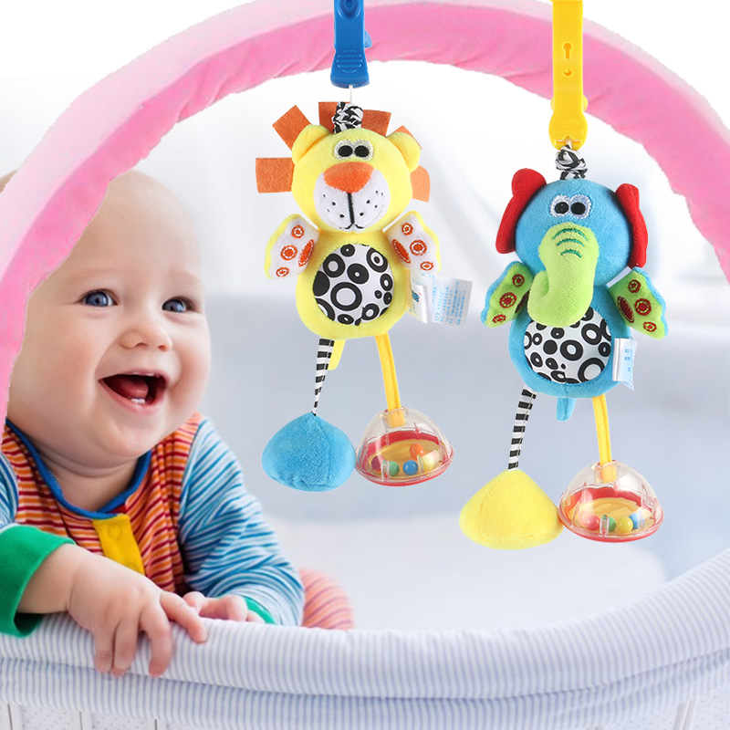 Best sale Baby toys 0-12 months rattle bed bell newborn baby mobile toy lion elephant animal pendant crib baby stroller toy good