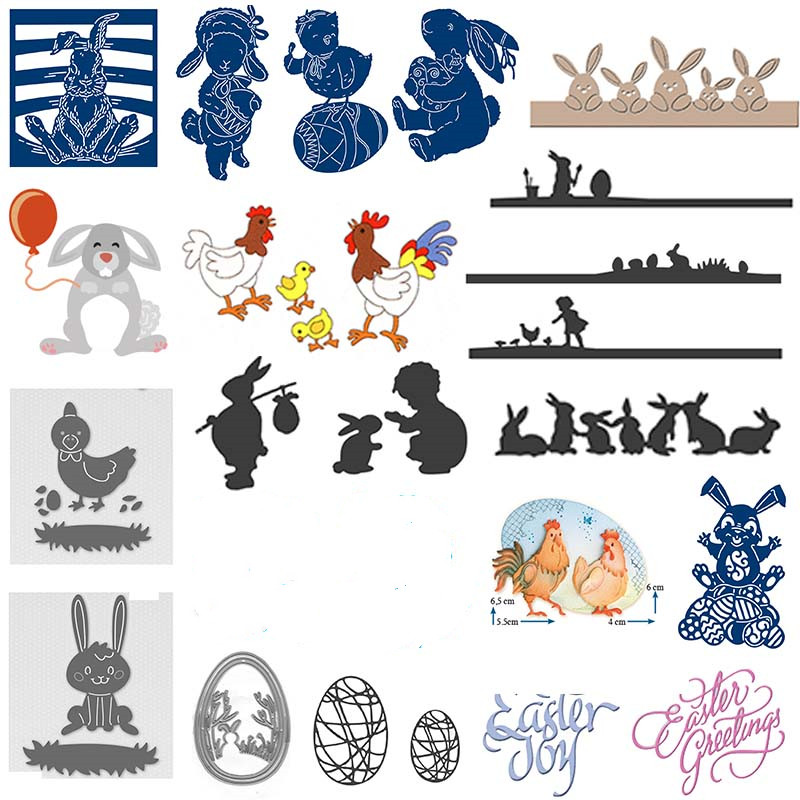 Happy Easter Bunny Egg Chicken Theme Cutting Dies For DIY Scrapbooking Paper Cards Making Crafts Supply New 2020 Easter Diecut