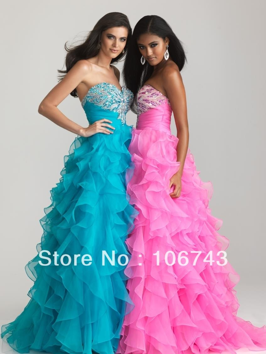 2018 Free Shipping New Style Sexy Sweetheart Brides Custom Beading Organza Ruffles Sweetheart Prom Party Gown Bridesmaid Dresses