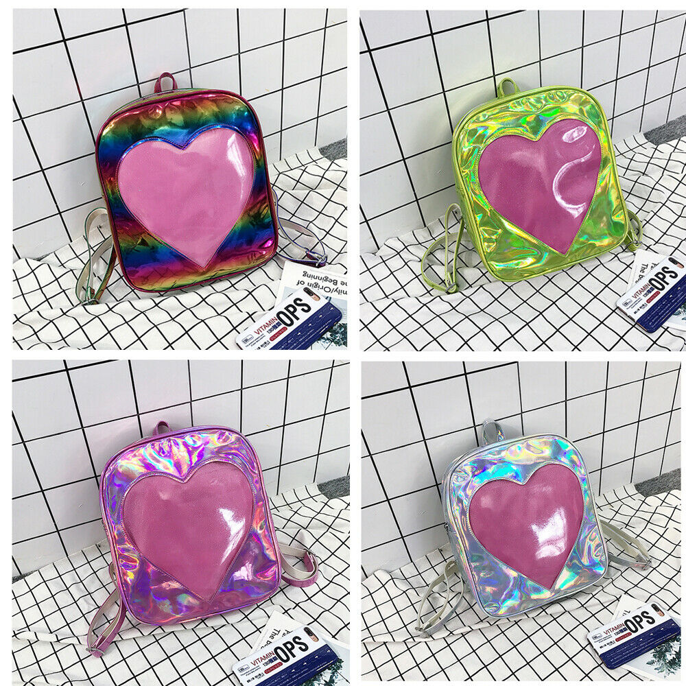 Fashion Transparent Love Backpack Women Clear Rucksack Laser Shoulder School Bag