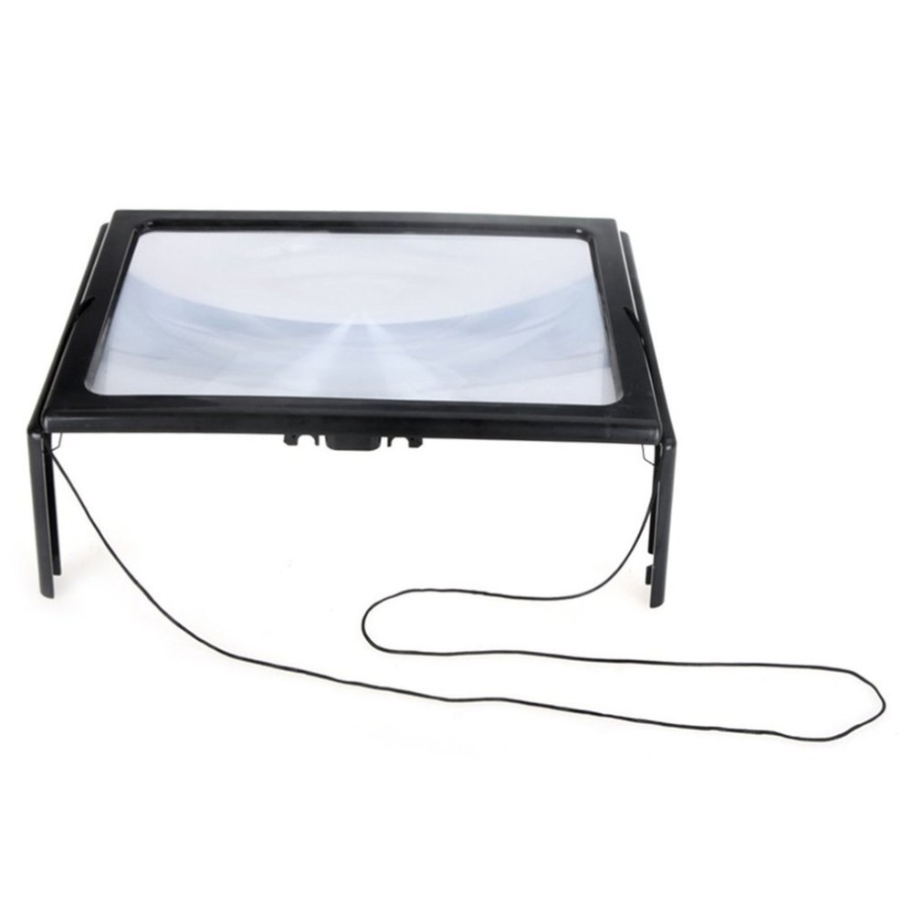 HOT Ultrathin A4 Full Page 3X Reading Magnifier Foldable Magnifying Loupe With 4 LED Lights Hands Free For Reading Toiletry Kits