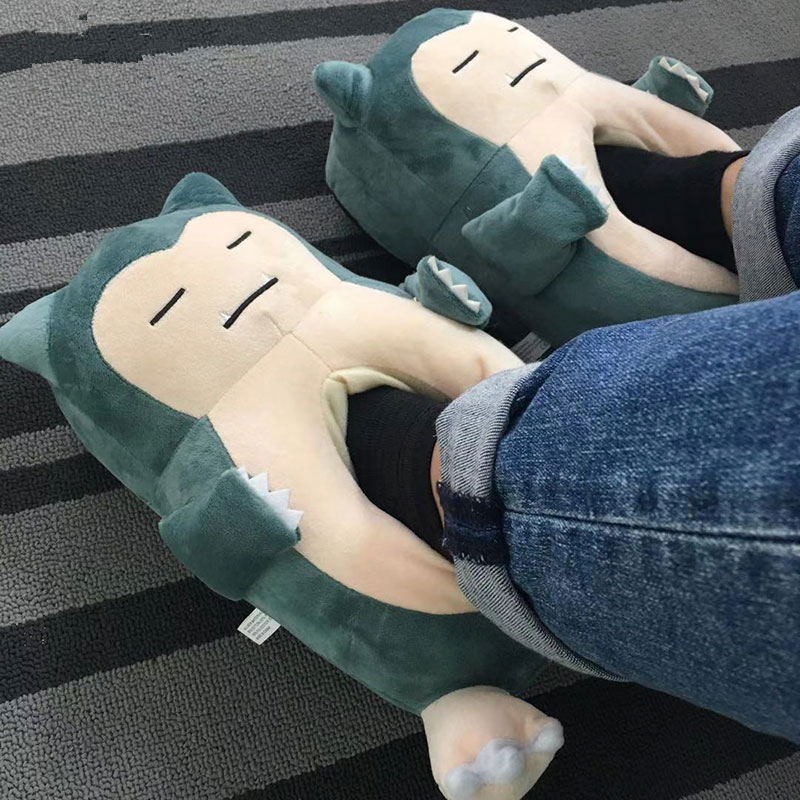 Anime Pokemon Snorlax Slippers Animal Party Cartoon Character Women Men Unisex Adult 35-42 Size Winter Kawaii Shoes Wholesale