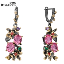 DreamCarnival1989 New Colorful Antique Earrings for Women Vintage Flower Style Fuchsia Zircon Dating Jewelry Drop Ships WE3874FU