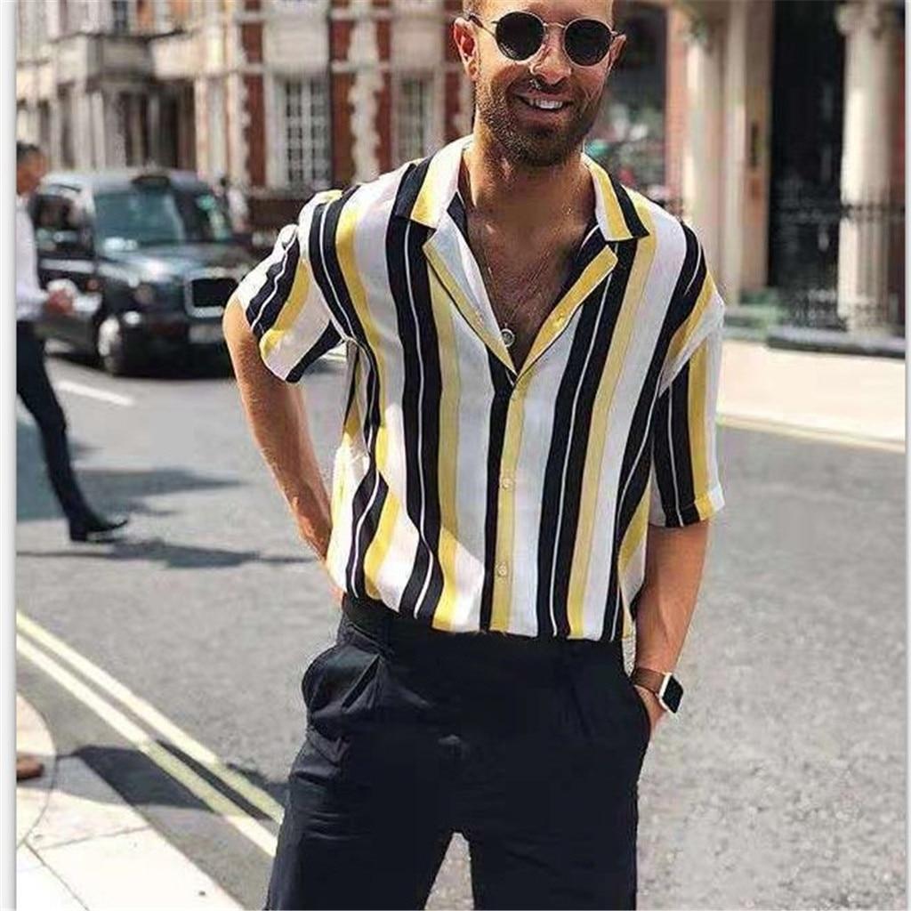 Men Shirts Mens Striped Shirt Short-Sleeve Shirts  1