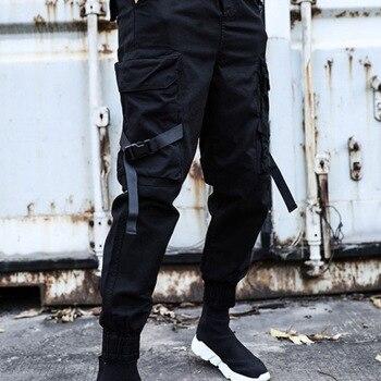 2020 hip-hop men's jogger black harem pants multi-pocket ribbon men's sports pants streetwear youth pants 9 points pants M-5XL 9 5xl