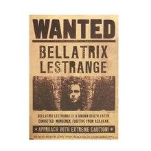 Cartel de papel Kraft Mural quería Bellatrix Lestrange Vintage decorativo Adhesivo de pared con pinturas pegatinas muraux lápiz