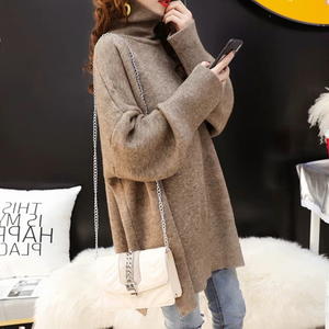 Image 3 - CHICEVER Korean Knitted Sweater Women Turtleneck Lantern Long Sleeve Oversize Pullover Sweaters Female 2020 Autumn Fashion New