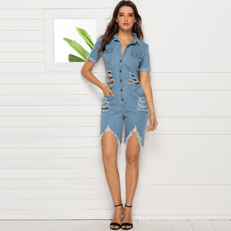 Fashion casual jeans wash water blue holes sexy slim denim jumpsuit women playsuits large size bodysuit female body rompers new