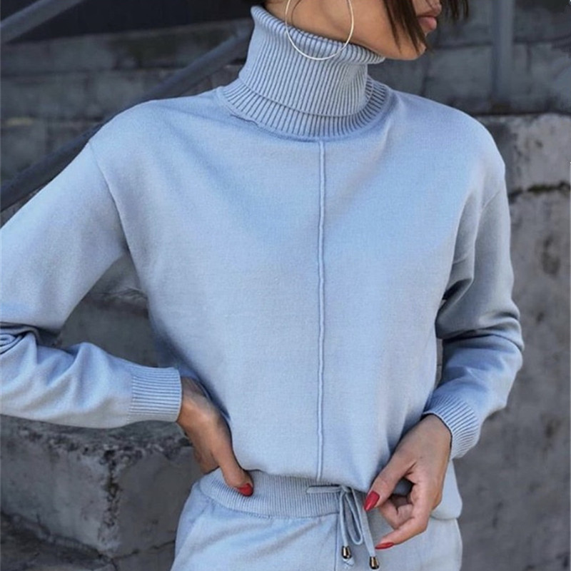 Turtleneck Sweatshirts And Pants Women Two Piece Set Autumn Winter Knitted Tracksuit Conjuntos De Mujer Causal 2 Piece Set Women