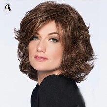 Синтетический женский парик DAN BO, натуральные короткие вьющиеся волосы, термостойкий коричневый парик, подходит для всех типов вечеринок