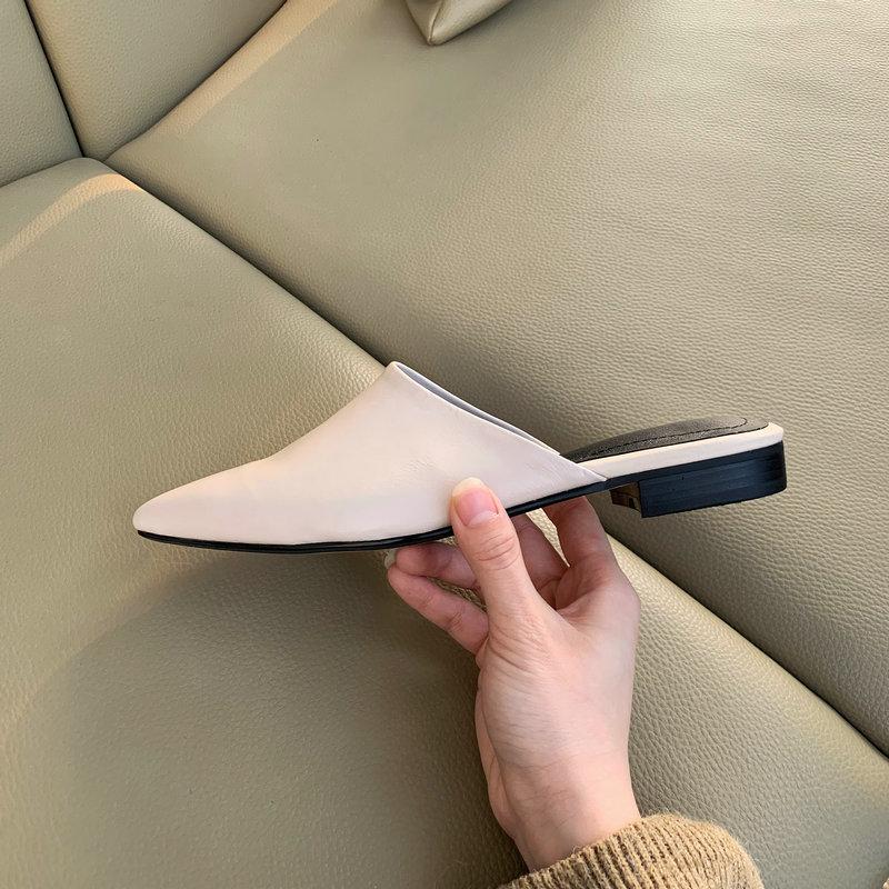 TXCNMB confortable femmes décontractée chaussures plates dames mules 2019 nouveauté en peau de mouton cuir bout pointu sans lacet grande taille 41 42-in Chaussures plates femme from Chaussures    3