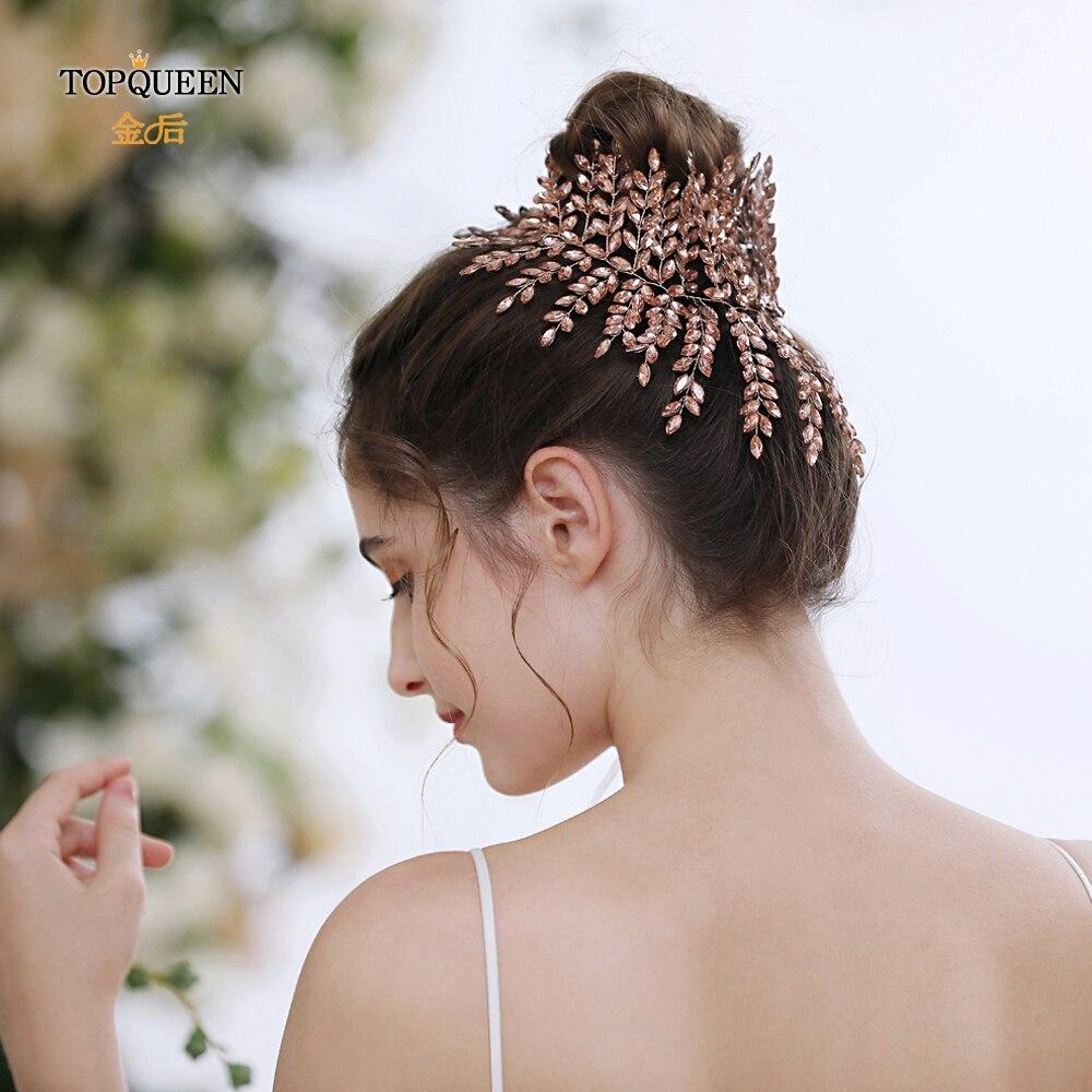TOPQUEEN HP238-P Leather Powder Diamond Wedding Headband Wedding Hair Accessories Bridal Crowns Bridal Hair Tiara Headpieces
