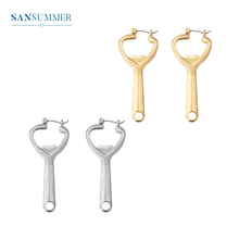 SANSUMMER 2019 New Style Fashionable Alloy Plating Personality Beer Bottle Opener Long Temperament Womens Earring 6031