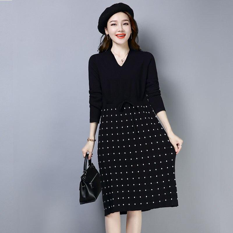 Début de l'hiver automne femme laine tricot robe élégante Smart décontracté chaud à pois laçage jusqu'à la taille droite une pièce robe tricots