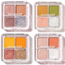 MINSHZEE 4 Colors Matte Glitter Eye Shadow Palette Waterproof Makeup