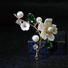 CINDY XIANG – broche en coquillage et fleur perlée pour femmes, élégante, en cristal rouge, bijoux de mariage de haute qualité