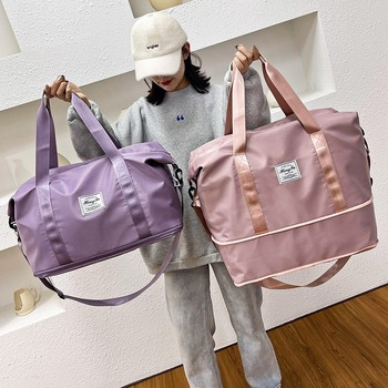 Waterproof Sports Fitness Bag Adjustable Gym Yoga Bag Big Travel Duffle Handbag for Women 2021 Weekend Traveling bag Bolsa Sac 1