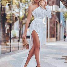 Dresses NEW Sexy Women White Side Slit Single Shoulder Long Sleeve HIgh Waist Slim Knitted Long Hollow Out Dress novelty one shoulder high slit hollow out dress for women