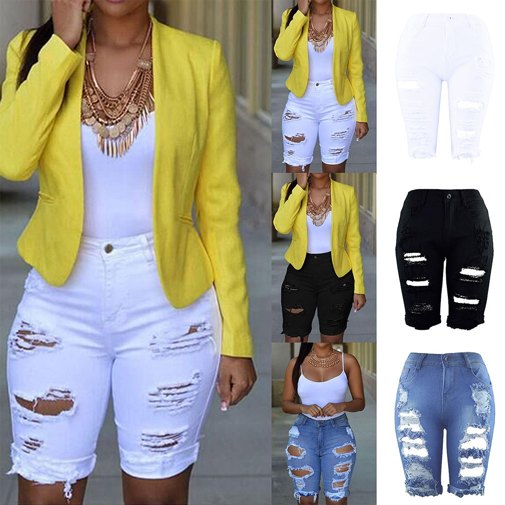 Casual   Jeans   Women's Clothing Ripped   Jeans   Mujer Elastic Destroyed Hole Leggings Short Pants Denim Shorts Ripped   Jeans   for Women