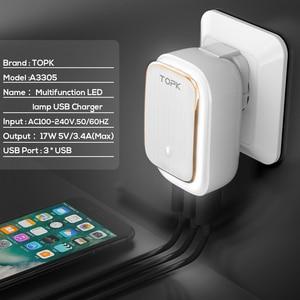 Image 5 - TOPK 17 واط 3 Port USB شاحن الهاتف محول LED مصباح السيارات ID المحمولة السفر الجدار شاحن ل شاومي mi نوت 10 برو سامسونج s10