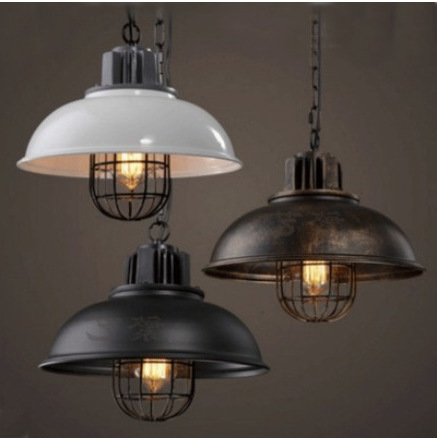 New American Industrial Loft Vintage Pendant Lights Black White Iron Edison Glass Retro Loft Vintage Pendant Lights Lamp Deco