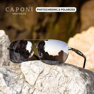 Image 2 - Очки солнцезащитные CAPONI мужские фотохромные, квадратные поляризационные, винтажные, из сплава, для вождения, UV400, BS10001