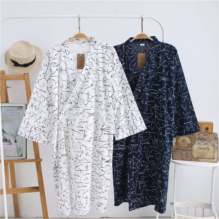 2020 Summer Man Yukata Sleepwear Thin Breathable Japanese Style Kimono Pajamas Cotton Bathrobe Gown Three Quarter Sleeve Dress