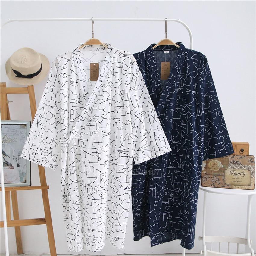 2020 Summer Man Yukata Sleepwear Thin Breathable Japanese Style Kimono Pajamas Cotton Bathrobe Gown Three Quarter Sleeve Dress