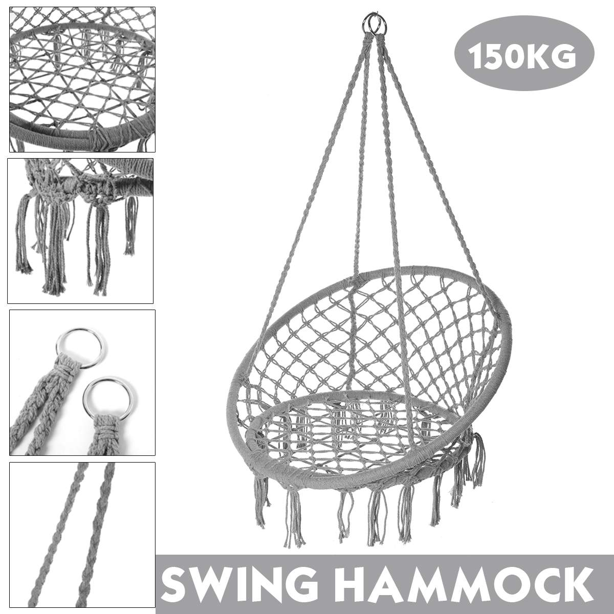 150KG Round Hammock Chair Outdoor Indoor Dormitory Bedroom Yard For Child Adult Swinging Hanging Single Safety Chair Hammock 1